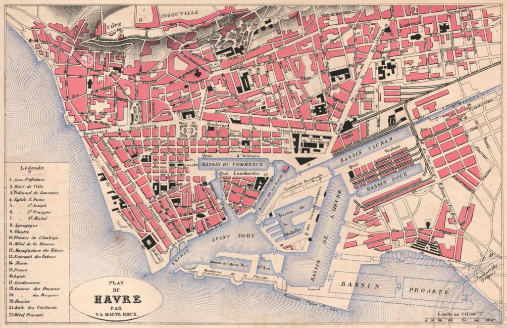Plan du Havre vers 1887 (Archives du Havre)
