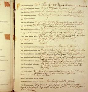 Les réponses de Marcel Proust dans l'album d'Antoinette Faure